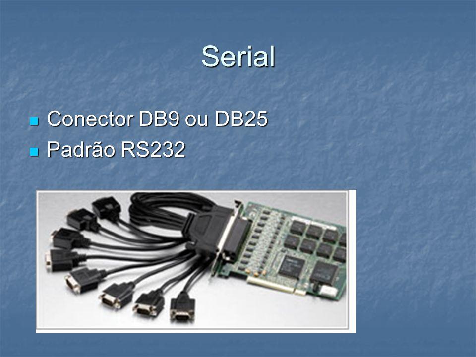 Serial Conector DB9 ou DB25 Conector DB9 ou DB25 Padrão RS232 Padrão RS232