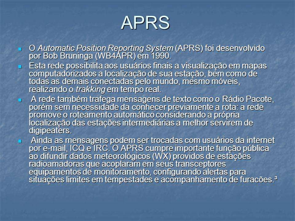 APRS O Automatic Position Reporting System (APRS) foi desenvolvido por Bob Bruninga (WB4APR) em 1990. O Automatic Position Reporting System (APRS) foi