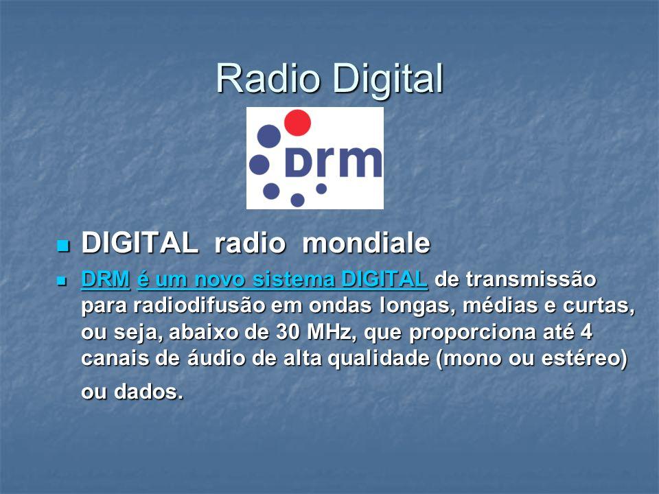 Radio Digital DIGITAL radio mondiale DIGITAL radio mondiale DRM é um novo sistema DIGITAL de transmissão para radiodifusão em ondas longas, médias e c