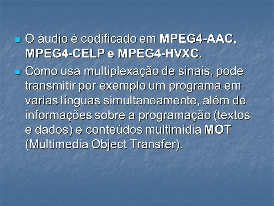 O áudio é codificado em MPEG4-AAC, MPEG4-CELP e MPEG4-HVXC. O áudio é codificado em MPEG4-AAC, MPEG4-CELP e MPEG4-HVXC. Como usa multiplexação de sina