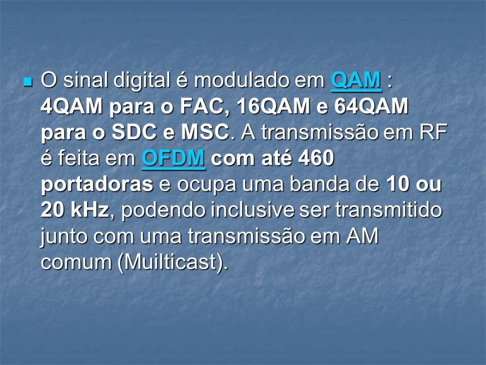 O sinal digital é modulado em QAM : 4QAM para o FAC, 16QAM e 64QAM para o SDC e MSC. A transmissão em RF é feita em OFDM com até 460 portadoras e ocup