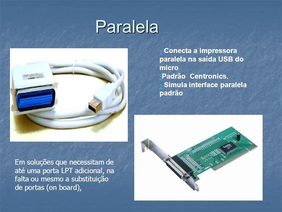 Paralela -- Conecta a impressora paralela na saída USB do micro -Padrão Centronics. - Simula interface paralela padrão - Em soluções que necessitam de