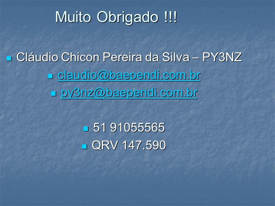 Muito Obrigado !!! Cláudio Chicon Pereira da Silva – PY3NZ c c llll aaaa uuuu dddd iiii oooo @@@@ bbbb aaaa eeee pppp eeee nnnn dddd iiii.... cccc ooo