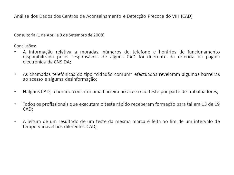 Análise dos Dados dos Centros de Aconselhamento e Detecção Precoce do VIH (CAD) Consultoria (1 de Abril a 9 de Setembro de 2008) Conclusões: A informa