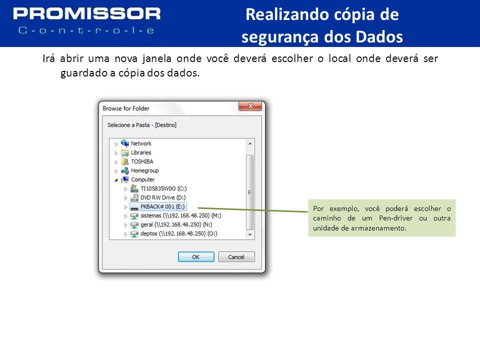Agora clique no botão Copiar para iniciar o backup dos dados.