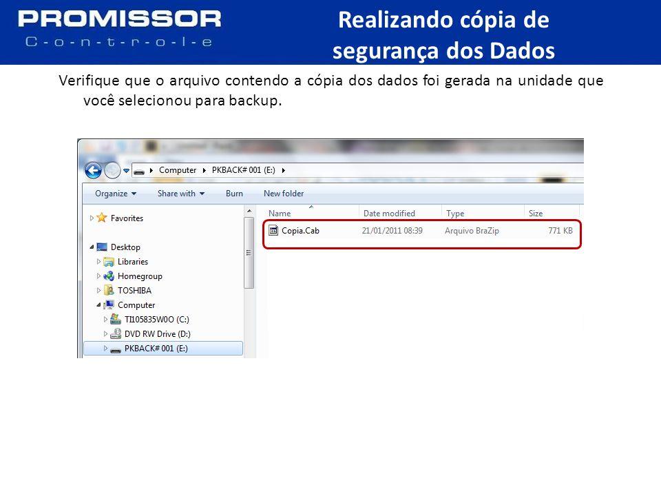 Verifique que o arquivo contendo a cópia dos dados foi gerada na unidade que você selecionou para backup.