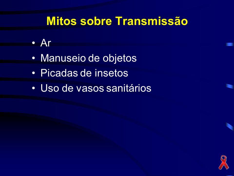 Mitos sobre Transmissão Ar Manuseio de objetos Picadas de insetos Uso de vasos sanitários