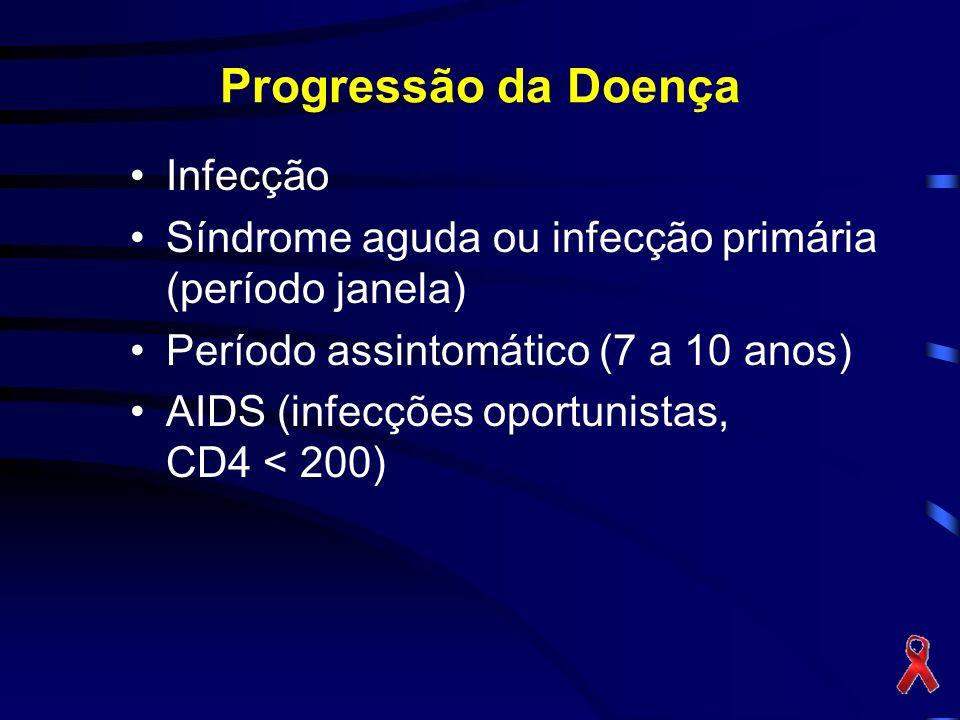 Progressão da Doença Infecção Síndrome aguda ou infecção primária (período janela) Período assintomático (7 a 10 anos) AIDS (infecções oportunistas, CD4 < 200)