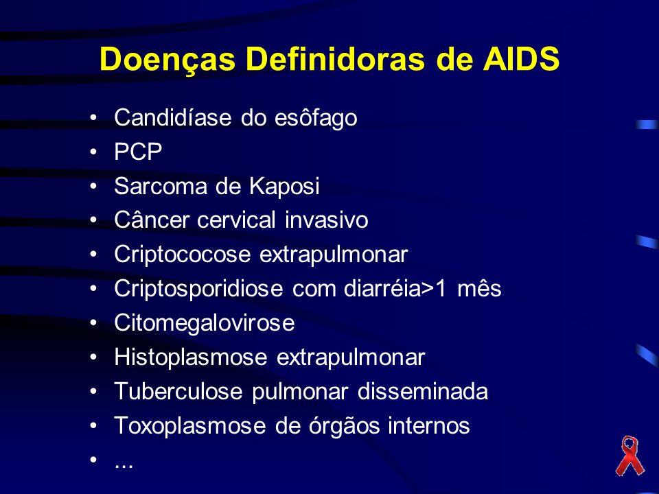 Doenças Definidoras de AIDS Candidíase do esôfago PCP Sarcoma de Kaposi Câncer cervical invasivo Criptococose extrapulmonar Criptosporidiose com diarréia>1 mês Citomegalovirose Histoplasmose extrapulmonar Tuberculose pulmonar disseminada Toxoplasmose de órgãos internos...