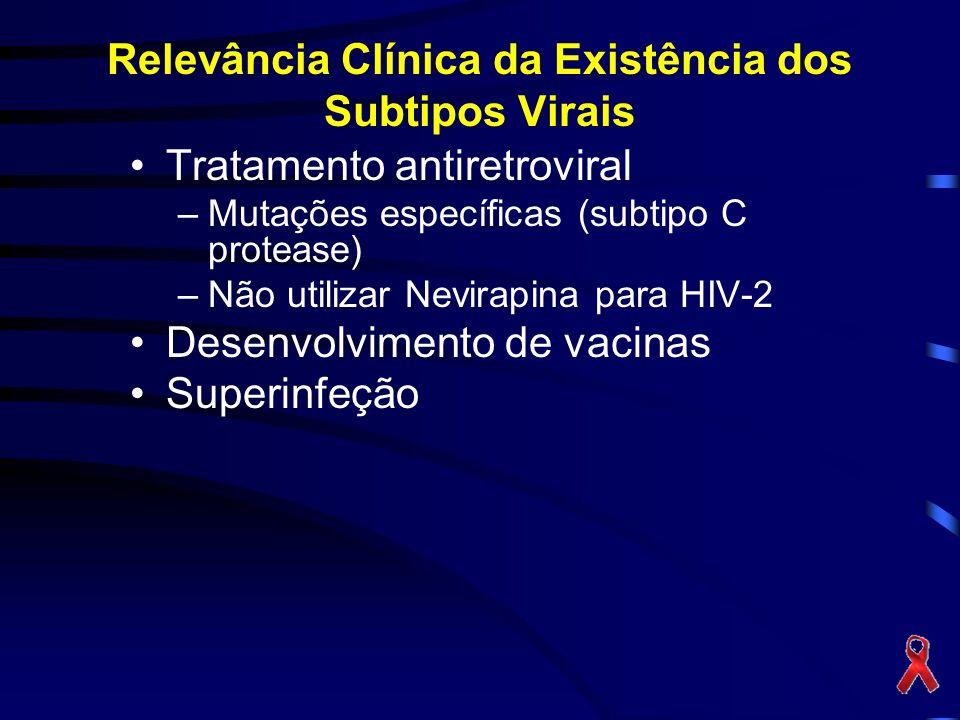 Relevância Clínica da Existência dos Subtipos Virais Tratamento antiretroviral –Mutações específicas (subtipo C protease) –Não utilizar Nevirapina para HIV-2 Desenvolvimento de vacinas Superinfeção