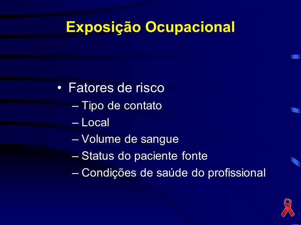 Exposição Ocupacional Fatores de risco –Tipo de contato –Local –Volume de sangue –Status do paciente fonte –Condições de saúde do profissional