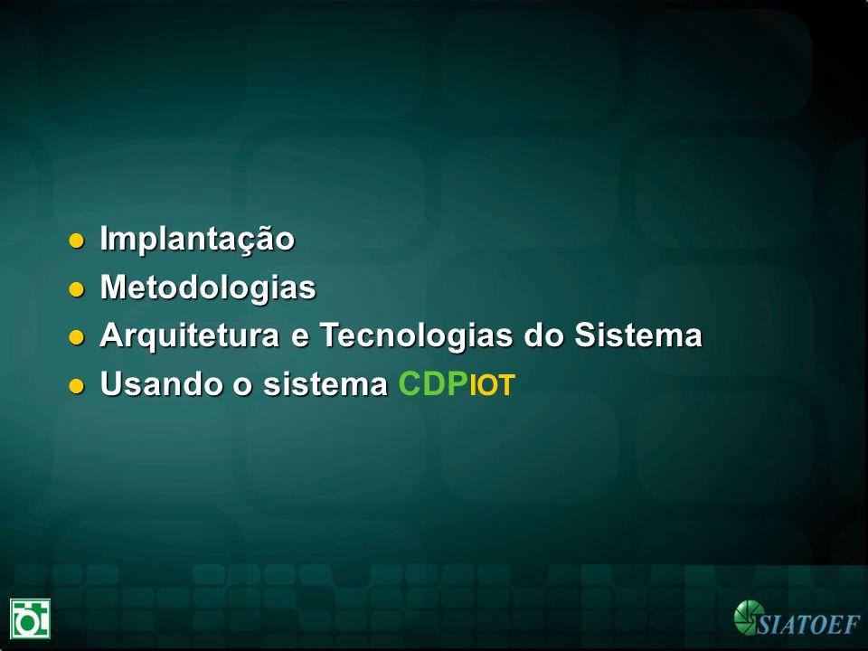 Implantação Implantação Metodologias Metodologias Arquitetura e Tecnologias do Sistema Arquitetura e Tecnologias do Sistema Usando o sistema Usando o