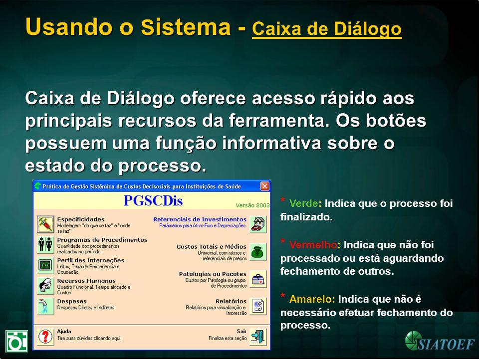 Usando o S istema - Usando o S istema - Caixa de Diálogo Caixa de Diálogo oferece acesso rápido aos principais recursos da ferramenta. Os botões possu