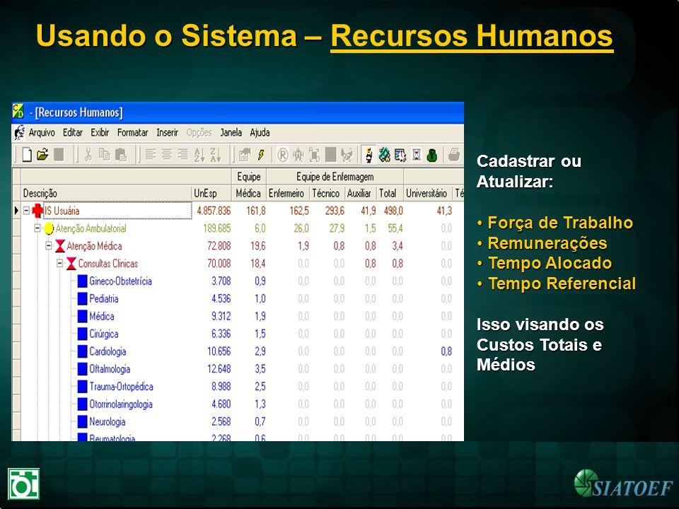 Usando o Sistema – Usando o Sistema – Recursos Humanos Cadastrar ou Atualizar: Força de Trabalho Força de Trabalho Remunerações Remunerações Tempo Alo