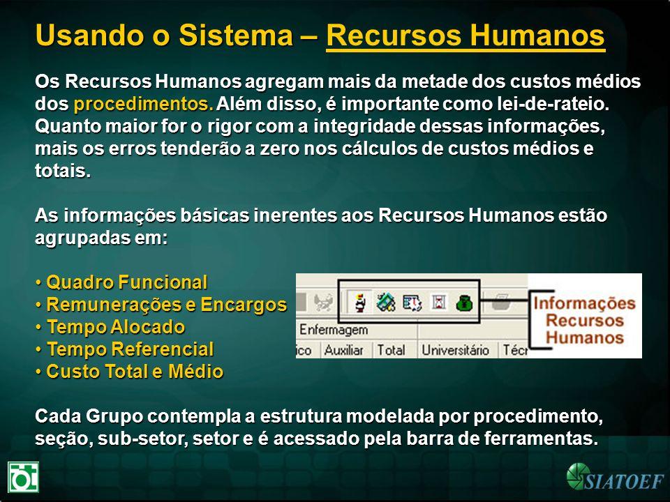 Usando o Sistema – Usando o Sistema – Recursos Humanos Os Recursos Humanos agregam mais da metade dos custos médios dos procedimentos. Além disso, é i