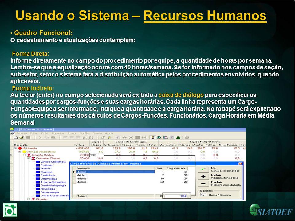 Usando o Sistema – Usando o Sistema – Recursos Humanos Quadro Funcional: Quadro Funcional: O cadastramento e atualizações contemplam: Forma Direta: In