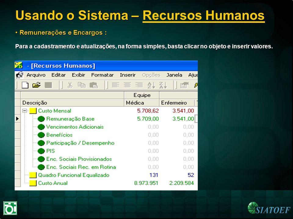 Usando o Sistema – Usando o Sistema – Recursos Humanos Remunerações e Encargos : Remunerações e Encargos : Para a cadastramento e atualizações, na for