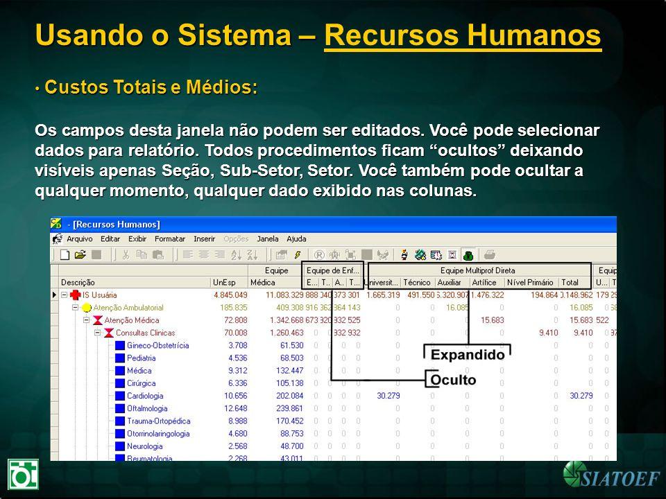 Usando o Sistema – Usando o Sistema – Recursos Humanos Custos Totais e Médios: Custos Totais e Médios: Os campos desta janela não podem ser editados.