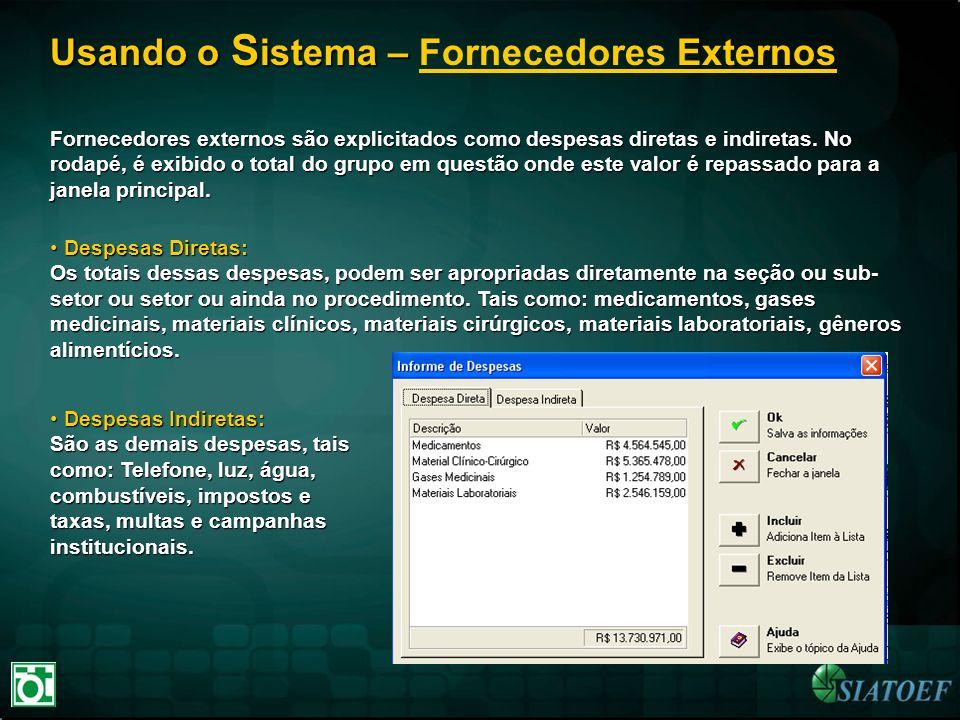 Usando o S istema – Usando o S istema – Fornecedores Externos Fornecedores externos são explicitados como despesas diretas e indiretas. No rodapé, é e