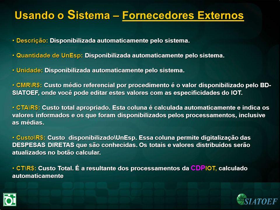 Usando o S istema – Usando o S istema – Fornecedores Externos Descrição: Disponibilizada automaticamente pelo sistema. Descrição: Disponibilizada auto