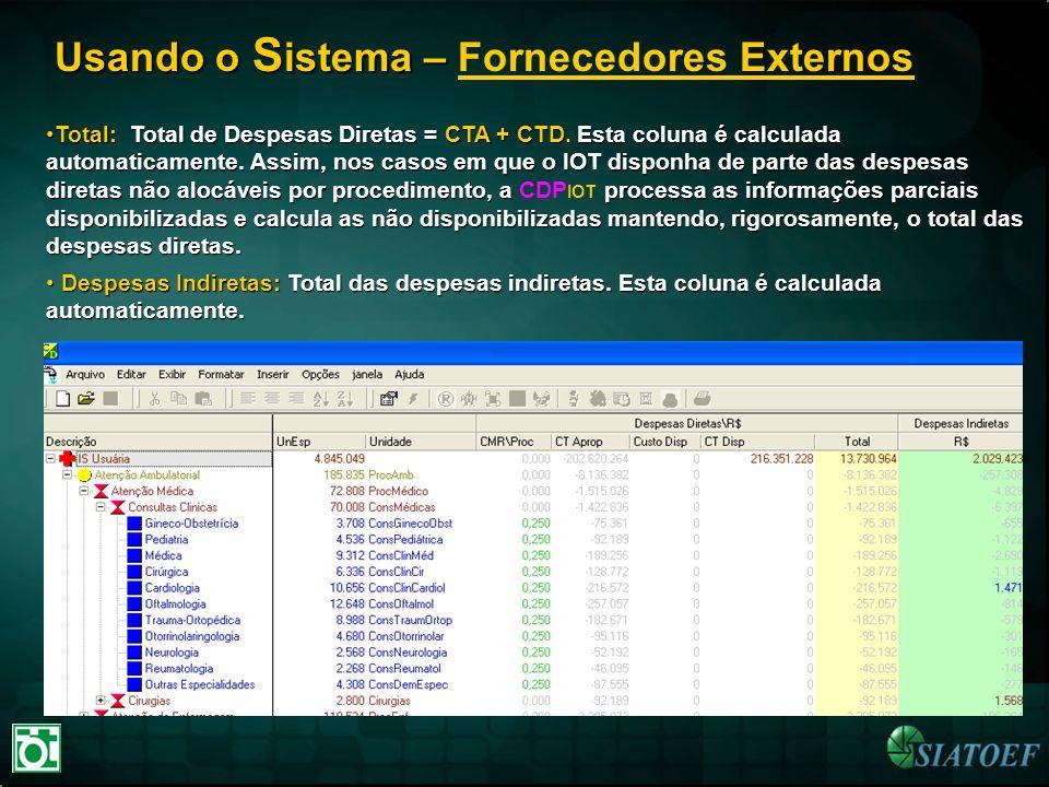 Usando o S istema – Usando o S istema – Fornecedores Externos Total: Total de Despesas Diretas = CTA + CTD. Esta coluna é calculada automaticamente. A