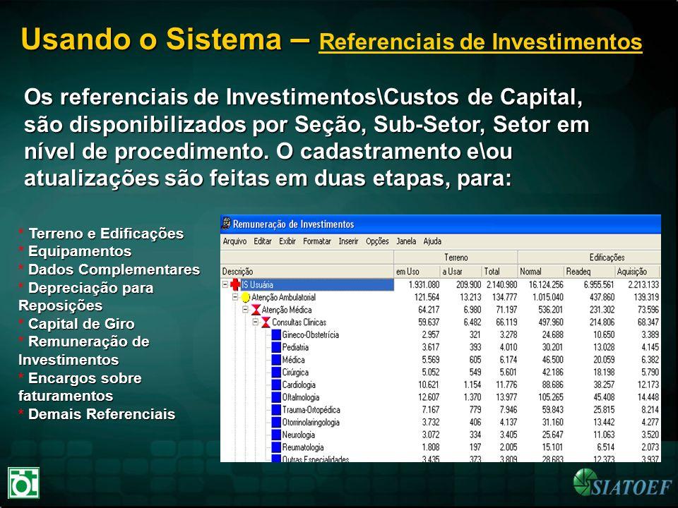 Usando o Sistema – Usando o Sistema – Referenciais de Investimentos Os referenciais de Investimentos\Custos de Capital, são disponibilizados por Seção