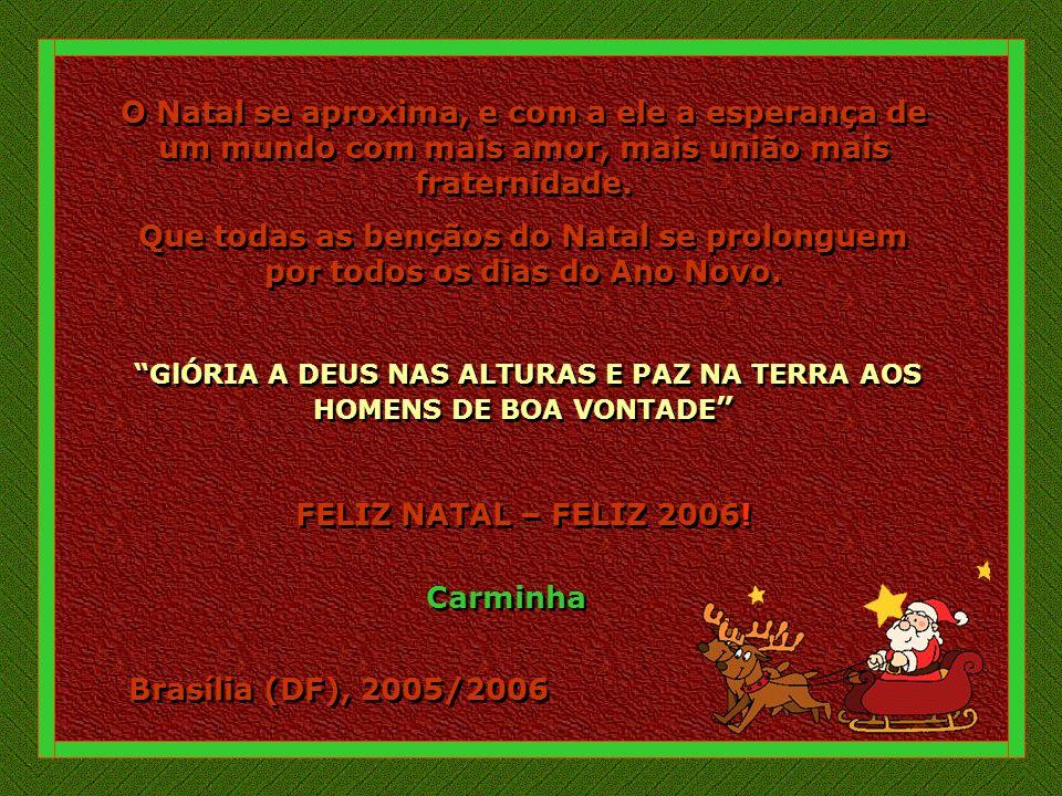 Brasília (DF), 2005/2006 O Natal se aproxima, e com a ele a esperança de um mundo com mais amor, mais união mais fraternidade.
