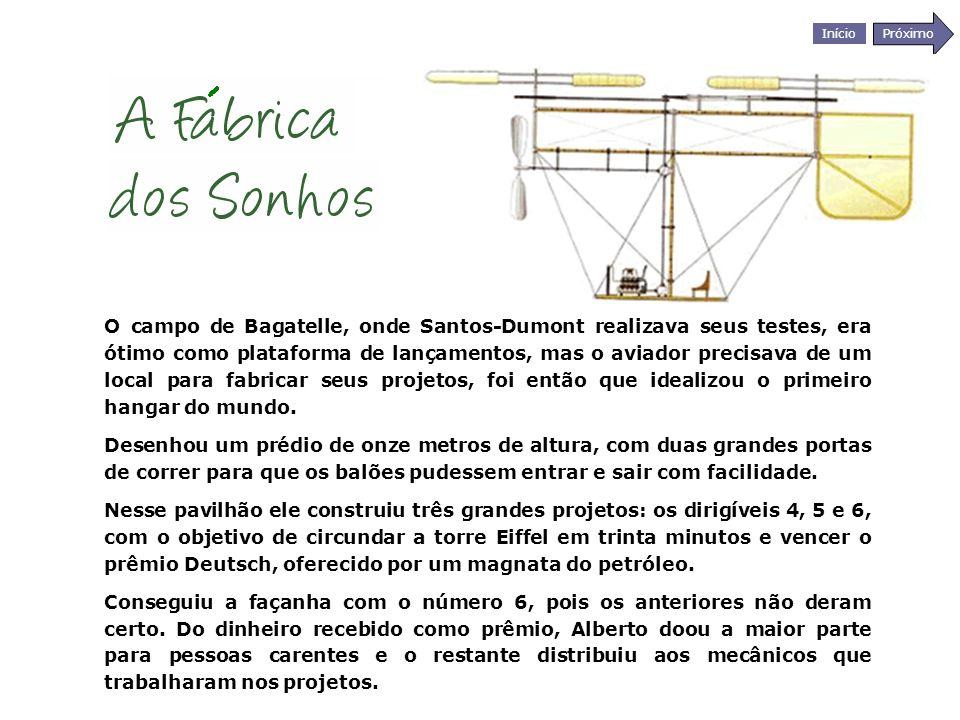 Início Próximo O campo de Bagatelle, onde Santos-Dumont realizava seus testes, era ótimo como plataforma de lançamentos, mas o aviador precisava de um
