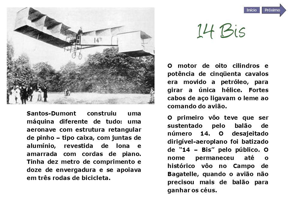 Início Próximo Santos-Dumont construiu uma máquina diferente de tudo: uma aeronave com estrutura retangular de pinho – tipo caixa, com juntas de alumí