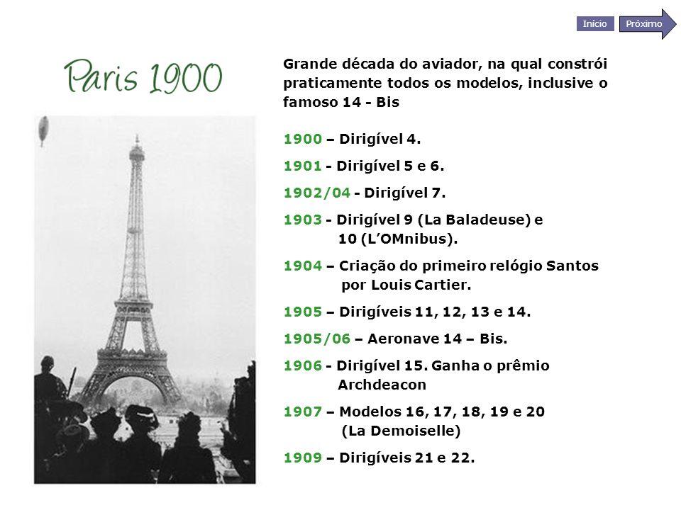 Início Próximo Grande década do aviador, na qual constrói praticamente todos os modelos, inclusive o famoso 14 - Bis 1900 – Dirigível 4. 1901 - Dirigí