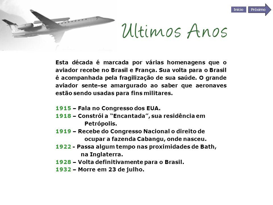 Início Próximo Esta década é marcada por várias homenagens que o aviador recebe no Brasil e França. Sua volta para o Brasil é acompanhada pela fragili