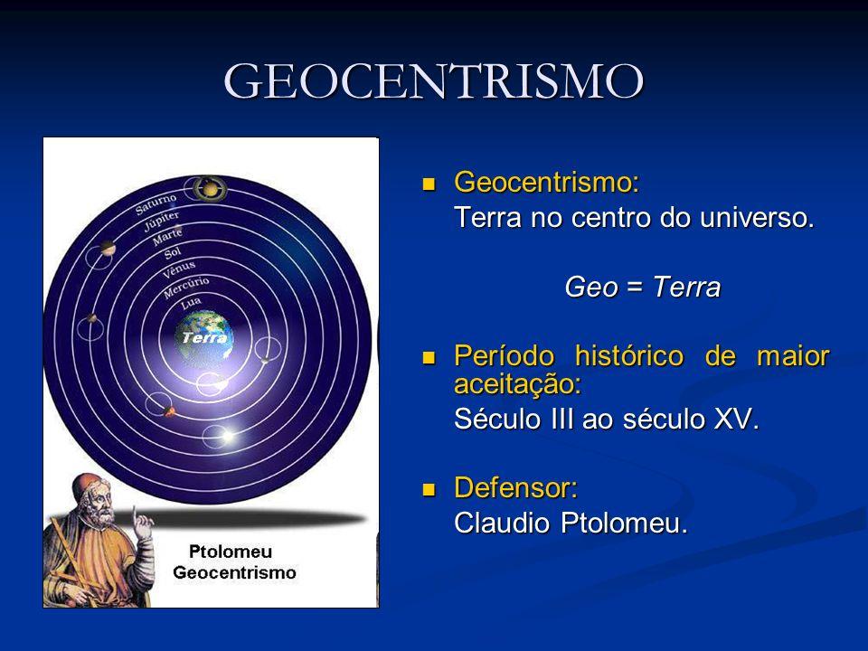GEOCENTRISMO Geocentrismo: Geocentrismo: Terra no centro do universo. Geo = Terra Período histórico de maior aceitação: Período histórico de maior ace