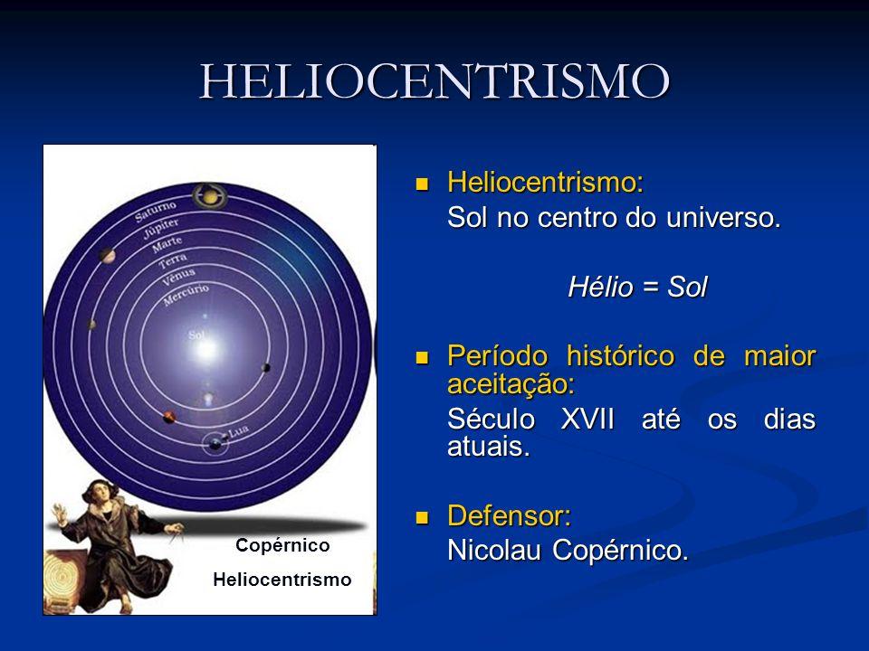 HELIOCENTRISMO Heliocentrismo: Heliocentrismo: Sol no centro do universo. Hélio = Sol Período histórico de maior aceitação: Período histórico de maior