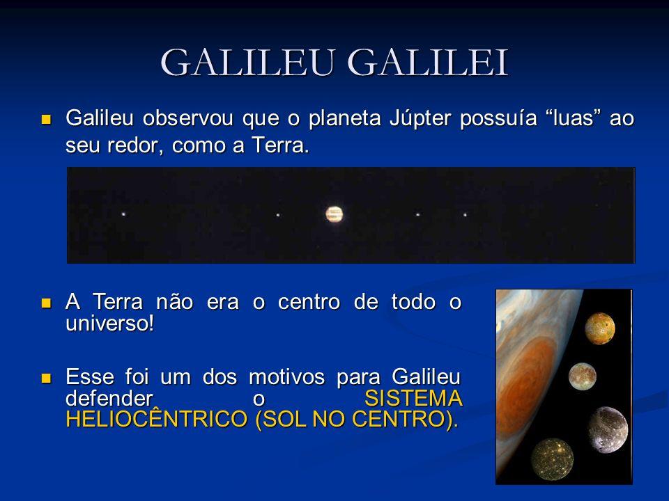 GALILEU GALILEI Galileu observou que o planeta Júpter possuía luas ao seu redor, como a Terra. Galileu observou que o planeta Júpter possuía luas ao s