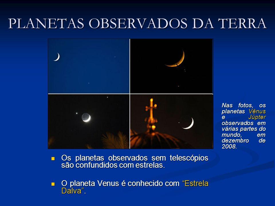 PLANETAS OBSERVADOS DA TERRA Os planetas observados sem telescópios são confundidos com estrelas. Os planetas observados sem telescópios são confundid