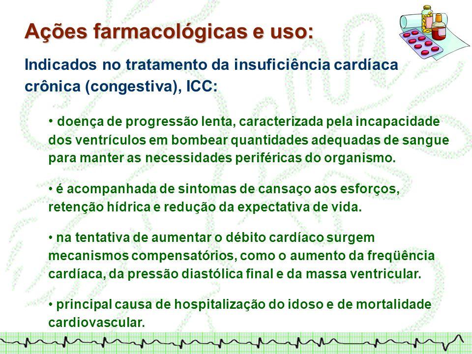 Ações farmacológicas e uso: Indicados no tratamento da insuficiência cardíaca crônica (congestiva), ICC: doença de progressão lenta, caracterizada pel