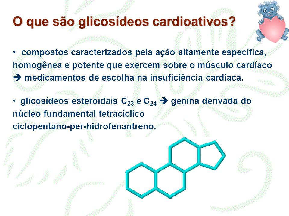 O que são glicosídeos cardioativos? compostos caracterizados pela ação altamente específica, homogênea e potente que exercem sobre o músculo cardíaco