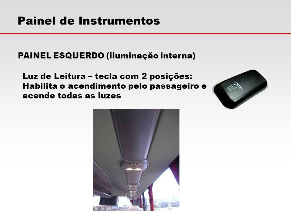 Painel de Instrumentos PAINEL ESQUERDO (iluminação interna) Luz de Leitura – tecla com 2 posições: Habilita o acendimento pelo passageiro e acende tod