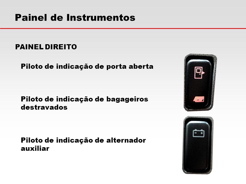 Painel de Instrumentos PAINEL DIREITO Piloto de indicação de porta aberta Piloto de indicação de bagageiros destravados Piloto de indicação de alterna