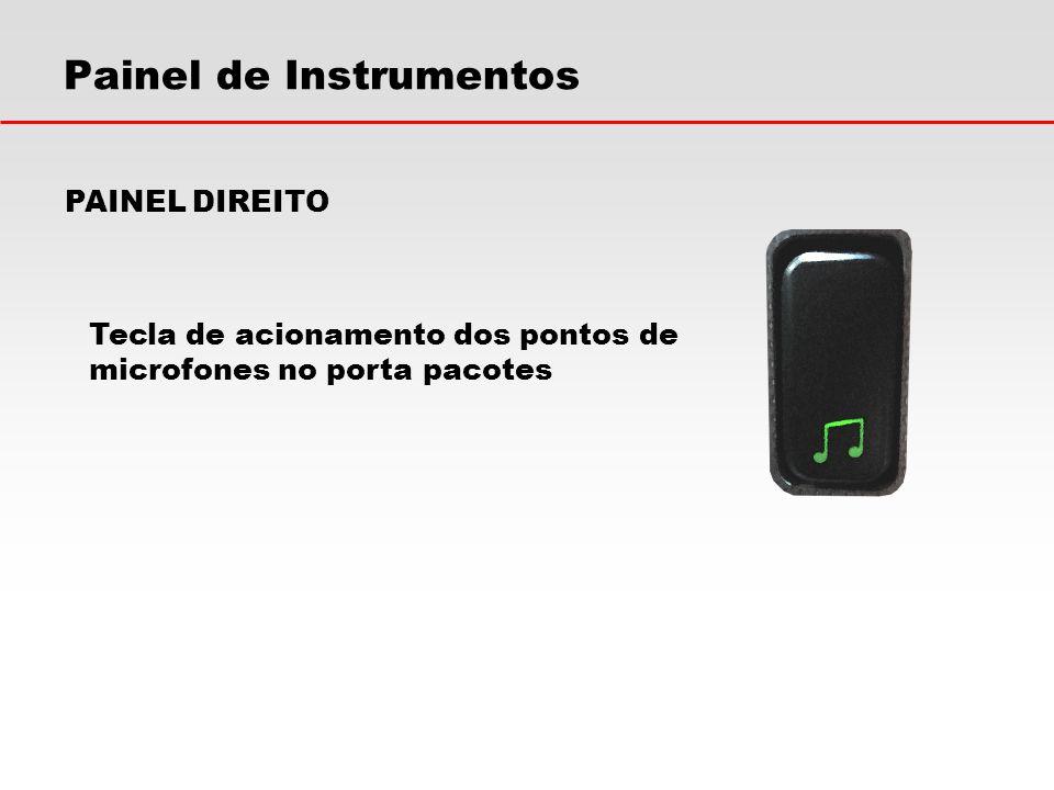 Painel de Instrumentos PAINEL DIREITO Tecla de acionamento dos pontos de microfones no porta pacotes