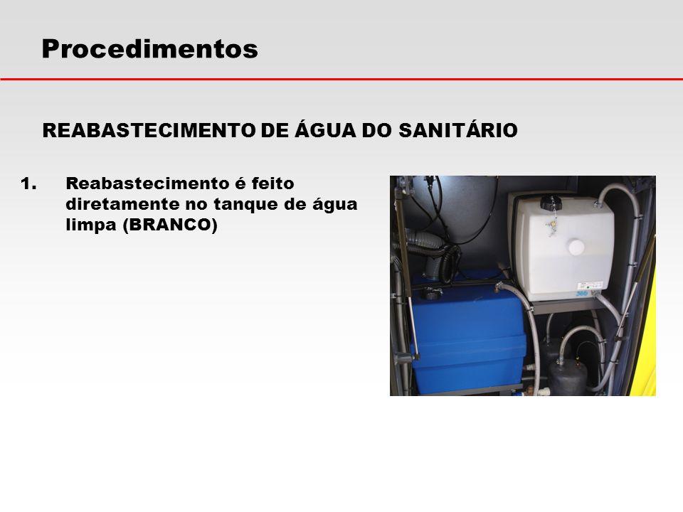 Procedimentos REABASTECIMENTO DE ÁGUA DO SANITÁRIO 1.Reabastecimento é feito diretamente no tanque de água limpa (BRANCO)