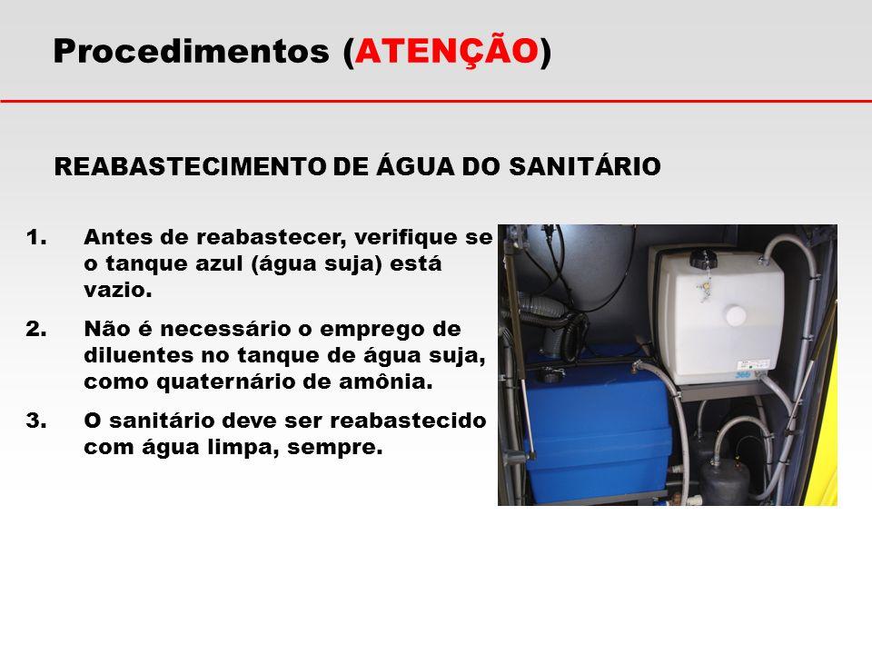 REABASTECIMENTO DE ÁGUA DO SANITÁRIO 1.Antes de reabastecer, verifique se o tanque azul (água suja) está vazio. 2.Não é necessário o emprego de diluen