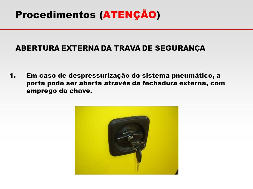 Procedimentos (ATENÇÃO) ABERTURA EXTERNA DA TRAVA DE SEGURANÇA 1.Em caso de despressurização do sistema pneumático, a porta pode ser aberta através da