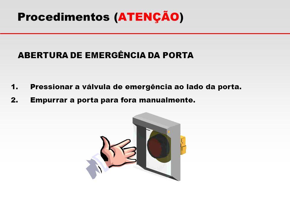 Procedimentos (ATENÇÃO) ABERTURA DE EMERGÊNCIA DA PORTA 1.Pressionar a válvula de emergência ao lado da porta. 2.Empurrar a porta para fora manualment