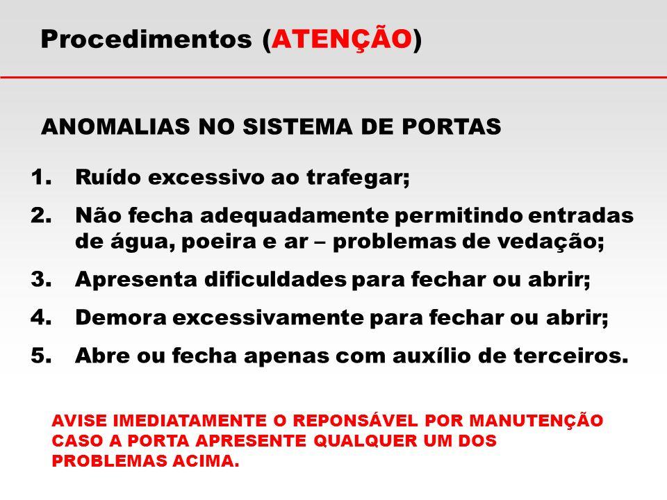 Procedimentos (ATENÇÃO) ANOMALIAS NO SISTEMA DE PORTAS 1.Ruído excessivo ao trafegar; 2.Não fecha adequadamente permitindo entradas de água, poeira e
