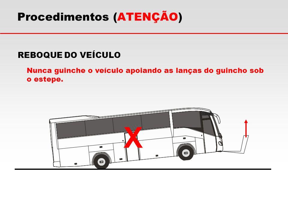 REBOQUE DO VEÍCULO Nunca guinche o veículo apoiando as lanças do guincho sob o estepe. Procedimentos (ATENÇÃO) X