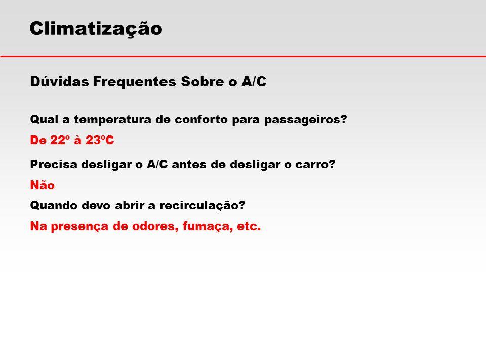 Climatização Dúvidas Frequentes Sobre o A/C Qual a temperatura de conforto para passageiros? De 22º à 23ºC Precisa desligar o A/C antes de desligar o