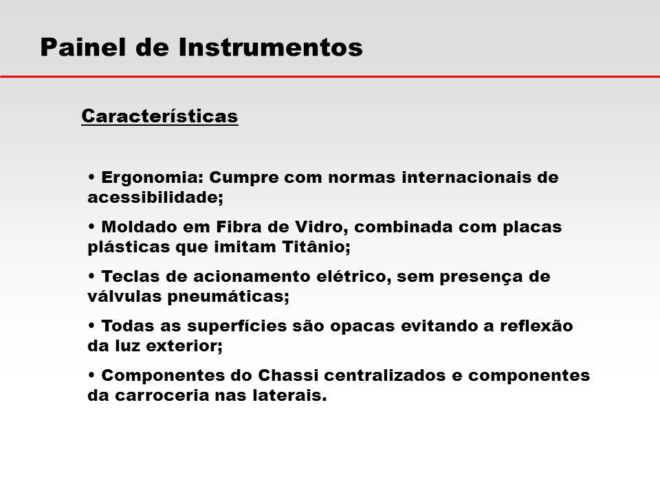 Características Ergonomia: Cumpre com normas internacionais de acessibilidade; Moldado em Fibra de Vidro, combinada com placas plásticas que imitam Ti