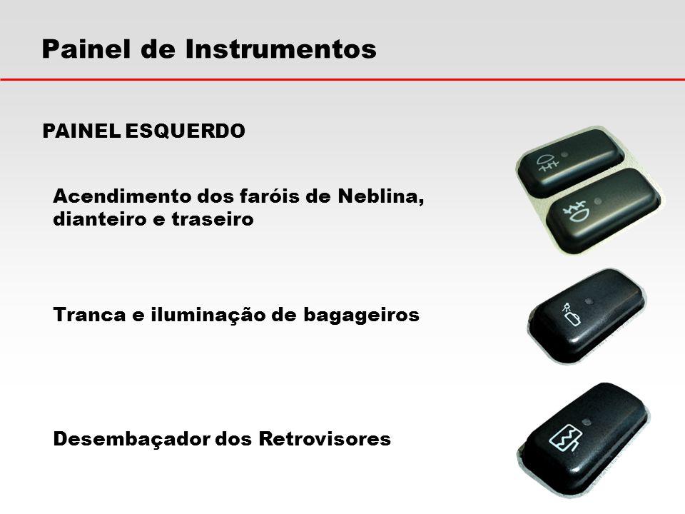 Painel de Instrumentos Acionamento das Geladeiras do painel e do Salão Bloqueio de Chamada Sonora para Parada PAINEL ESQUERDO Comando de Retrovisores