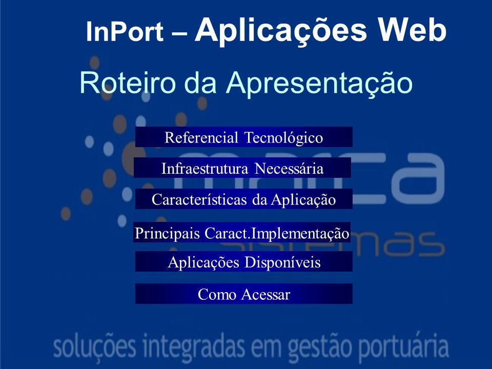 Roteiro da Apresentação InPort – Aplicações Web Referencial Tecnológico Características da Aplicação Aplicações Disponíveis Como Acessar Infraestrutura Necessária Principais Caract.Implementação